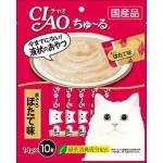 CIAO Chu-ru ขนมครีมแมวเลีย ปลาทูน่าเนื้อขาว รสหอยเชลล์ 14 กรัม x 10 ซอง