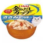 INABA ชนิดเปียก รสเนื้อสันในไก่ในน้ำเกรวี่หน้าปลาโอแห้ง 70 กรัม