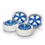 TA 95099 Mini 4WD 35th Anniversary White Tires & Blue Plated A-Spoke Wheels