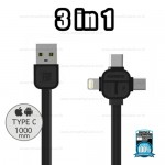 REMAX Cable 3 in 1 Iphone/Micro/Type-C 066TH (Black,Cerpexov)