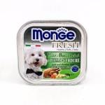 Monge Fresh ชนิดเปียก สำหรับสุนัข สูตรไก่และผัก 100 กรัม