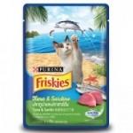 Friskies ชนิดเปียก สำหรับแมวโต รสปลาทูน่า & ปลาซาร์ดีน 80 กรัม