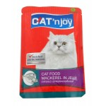 แคท เอ็นจอย Cat'n joy อาหารแมวชนิดเปียก สำหรับแมวทุกสายพันธุ์ สูตรปลาแมคเคอเรลในเยลลี่ 85 กรัม
