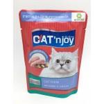แคท เอ็นจอย Cat'n joy อาหารแมวชนิดเปียก สำหรับแมวทุกสายพันธุ์ สูตรปลาแมคเคอเรลและไก่ในเยลลี่ 80 กรัม