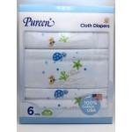 เพียวรีน Pureen Cloth Diapers ผ้าอ้อมสาลู cotton 100% Size 29x29 แพ็ค 6 ชิ้น สีฟ้า