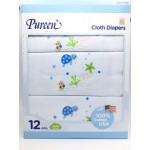 เพียวรีน Pureen Cloth Diapers ผ้าอ้อมสาลู cotton 100% Size 29x29 แพ็คแบบกล่อง 12 ชิ้น สีฟ้า