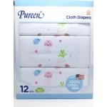 เพียวรีน Pureen Cloth Diapers ผ้าอ้อมสาลู cotton 100% Size 29x29 แพ็คแบบกล่อง 12 ชิ้น สีชมพู