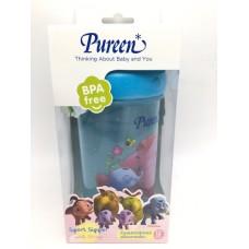 เพียวรีน Pureen ถ้วยซิปเปอร์พร้อมสายคล้อง 12 oz. ลายก้านกล้วย สีฟ้า