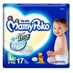 มามี่โพโค Mamy Poko Extra Dry ไซส์ L ห่อ 17 ชิ้น (เทปกาว)