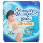 มามี่โพโค Mamy Poko Pants Extra Soft  ไซส์ L สำหรับเด็กผู้ชาย ห่อ 14 ชิ้น (กางเกง)