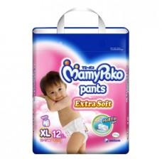 มามี่โพโค Mamy Poko Pants Extra Soft  ไซส์ XL สำหรับเด็กผู้หญิง ห่อ 12 ชิ้น (กางเกง)