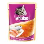 Whiskas ชนิดเปียก รสปลาทูและปลาแซลมอน 85 g