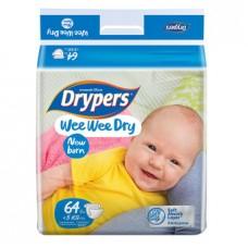 ดรายเพอร์ส Drypers Wee Wee Dry ไซส์ New Born ห่อ 64 ชิ้น